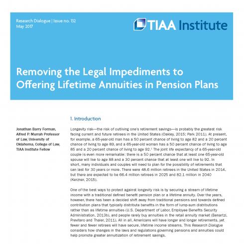 Image_May 2017_Forman_RD_Removing Legal Impediments to Offering Lifetime Annuities